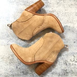 NEW Joie Mathilde Natural Suede Western Booties 37